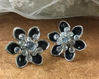 Realistic Signed Coro Starflower Black Enamel Clear Rhinestone Earrings Screwback 1950's Silver Tone Floral Design Stylized Evening Wear