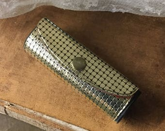 Neat Gold Faux Mesh Lipstick Holder Case 1960's Snap Closure Small Dainty Black Plastic Black Interior Mirror Inside Make Up Case
