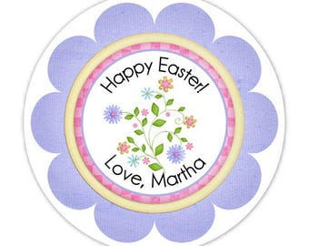 Custom Easter, Spring Flowers Labels, Stickers - 2.5 inch round - Personalized for YOU
