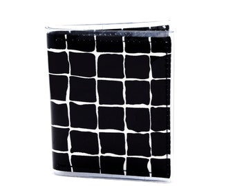 Warrior Wallet - Black and white grid cotton sateen fabric