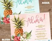 Birthday Party Invitation   Tropical Birthday Party   Luau, Aloha, Pineapple Invitation   Sweet 16, 21st, 30th, 40th, 50th, 60th, 70th, 80th