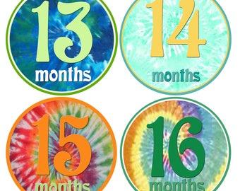 Baby Boy Monthly Stickers Groovy Tie Dye Baby Milestones Retro Boy 12 Montlhy Baby stickers. 2nd Year Stickers 13-24 Month Stickers