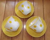 circa 1960 milk glass demitasse cups and saucers with yellow polka dots - help cats and kittens!