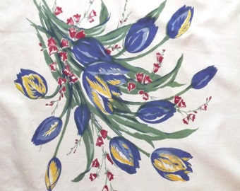 1940s blue tulip bouquets print cotton curtains - charity for cats