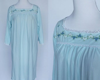 70's Flannel Nightgown / Gaymode / Light Blue Nightgown / Small to Medium