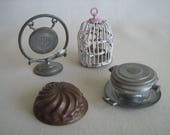 Antique German Soft Metal/ Tin Dollhouse Accessories-Dinner Gong, Waffle Iron, Copper Mold and Birdhouse-RARE! Early 1900s- 1:12 Scale