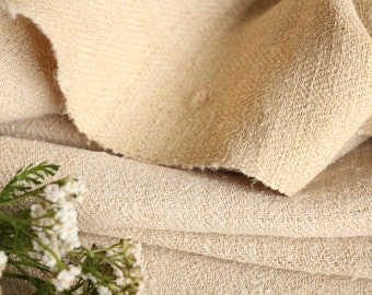 C 29 : antique handloomed 24.59yards french 리넨 two-toned upholstering curtain projects wedding NATURAL CREAMY