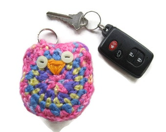Ready To Ship - Crochet Owl Key Ring - Crochet Owl Key Fob - Crochet Pink Owl Key Chain - Colorful Crochet Owl Accessory