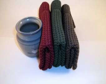 Dishcloths Knit in Cotton in Anthracite, Wine and Hemlock, Knit Washcloth, Dish Cloth, Wash Cloth