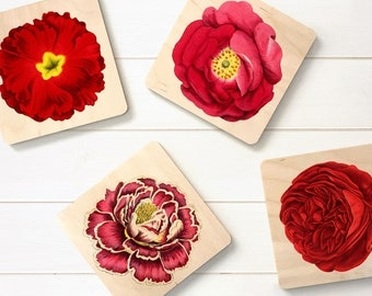 Bloomin' nice coaster set, birchwood coaster set, flower lover's gift, flower coasters, wooden coasters