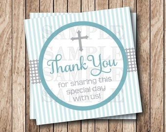 Instant Download . Printable Cross Thank You Tags, Printable Baptism Thank You Tags, Communion Thank You Tags, Religious Thank You Tags