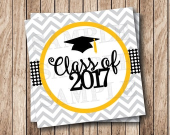 Instant Download . Printable Graduation Tags, Printable Class of 2017 Tags, Graduation Cap Tags, Printable Graduation Tags
