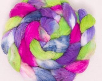 Hand Painted fibre, fiber,  Faux Cashmere,  top,  roving,  spinning fiber,  vegan fibre, colour Zest