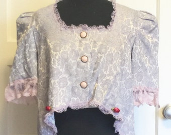 Lavender Marie Antoinette reconstructed jacket, hand dyed upcycled makeover lace large short sleeved