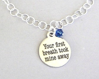 Mother charm bracelet, gift for new mom, your first breath took mine away, personalized birthstone color, daughter, new baby, birthday