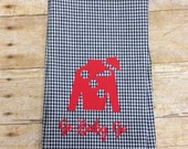 Black gingham hand towel with red Jockey Silk, Kentucky Derby hand towel, Derby decor