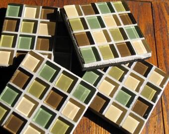 SALE - LAST ONE - Chocolate Teal Gray Coasters (Set of 4)