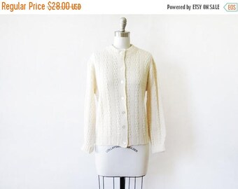 50% OFF SALE vintage cream cardigan, 70s pointelle knit sweater, large white cardigan