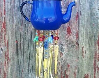 Enameled Teapot Silverware Windchime Garden Porch Decor Housewarming Gift Spoon Chime
