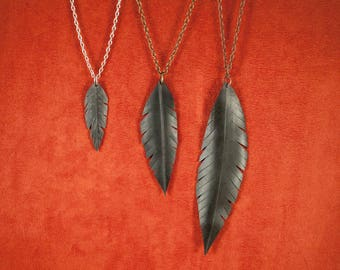 Vegan Feather Bike Tube  Necklace