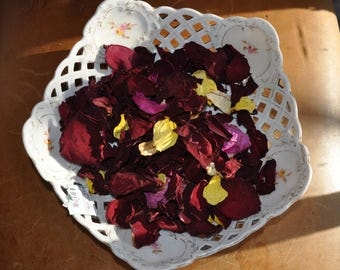 Antique Austrian Pierced Porcelain Bowl/Hand Painted Roses/Filled With Rose Petals