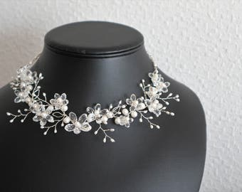 Silver Necklace Blooming Sakura Flowers - Sterling Silver