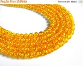 ON SALE 66 pcs Yellow Round Beads 6mm Vintage beads