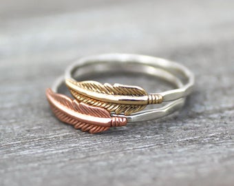 Feather Stack Ring, Boho Feather Ring, Sterling Ring, Sterling Silver, Copper Feather Ring, Feather Ring, Boho Ring, Hipster Ring