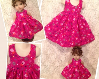 Pink Peppa Pig * Matching dress CUSTOM SIZES 2 3 4 5 6 7 8 9 10 12 14 & American Girl Doll, Bitty Baby, Wellie Wishers, My Twinn your choice