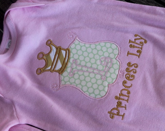 Personalized Princess Crown Applique Gown or Onesie Customized Embroidered New Baby Take Home From Hospital Photo Prop Birth Announcement