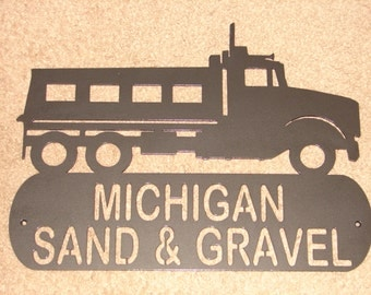 Dump Truck ADDRESS PLAQUE Home Decor Wall Personalized Sign Trucker Truck Gravel Two line