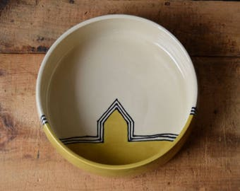 SECOND* Entry Way Catchall / Pet Bowl XL 9.5 inch in Mustard Houses Dots Ready to Ship