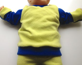Medium Diaper Cover Wool Longies and Top Set - Royal Blue and  Recycled Lime Cashmere