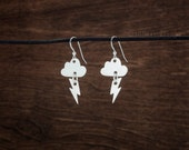 Thundercloud & Lightning Bolt - Stormy Weather Earrings - STERLING SILVER