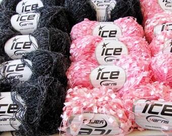 Ice Diva Yarn Destash pink Blue Black Craft Yarn Fiber 31 Skeins of Yarn
