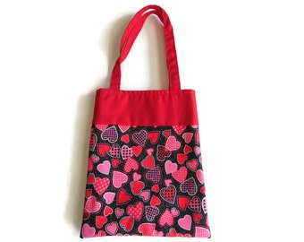 Small Fabric Valentine Gift Bag/Goodie Bag - Hearts