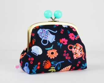 Metal frame clutch bag - Garden party in navy - Color bobble purse / Japanese fabric / Cotton and steel / Rifle paper Co / Wonderland