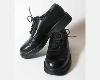 Vintage 1980s Nine West Womens Tie Leather Cloud Nine Oxfords Shoes Black Size 6