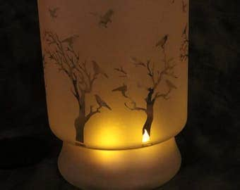Birds in Trees Large Hurricane style Candle holder or Vase
