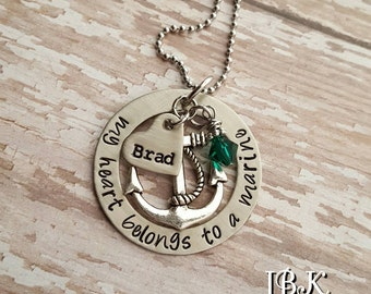 JBK My Heart Belongs to a Marine necklace