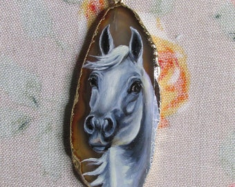 Hand painted White Gray Arabian Horse Equestrian Jewelry Art Pendant Miniature Oil Painting