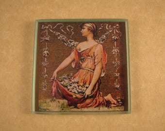 Woman Collecting Flowers In Her Orange Dress Square Glass Tile Paperweight Scribner's Fiction Number Home Decor