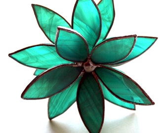 NEW 3D Stained Glass Flower Suncatcher -Teal Swirl - In Full Bloom Flower
