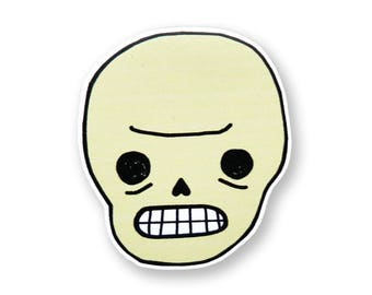 Mini Awkward Skull Sticker
