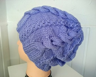 Slouchy Hat,Oversized Beanie Accessories in the colour Bluebell Purple