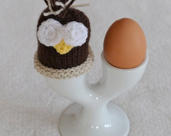 Brown Knitted Owl Egg Cosy, Creme Egg or Computer Desk Gonk