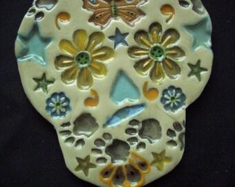 WAG - Intricate SUGAR SKULL - Ceramic Mosaic Tiles