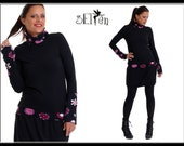 Winter Dress Fleece Print Flower Pink Lady