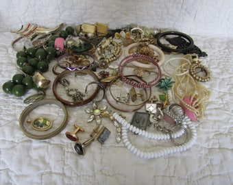Vintage Costume Jewelry Lot for parts or repair over 2 lbs.