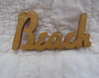 Vintage Wood Beach word Mid Century
